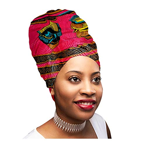 Head Scarfs and Wraps African Print Turban Hats Ethnic Tribal (Blue and Pink)
