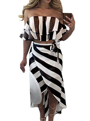 New Femmes Raye Deux Morceaux Ensembles de Plage t Sexy Col Bateau Manches Courtes Crop Tops Court Blouses Haut Chemisiers + Fashion Irregulier Longue Jupes de Fte Noir