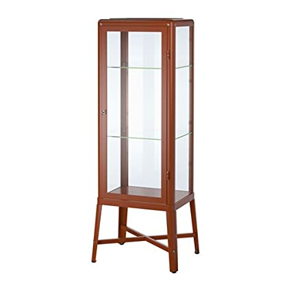 FABRIKÖR Glass Door Cabinet, Red Brown Brown