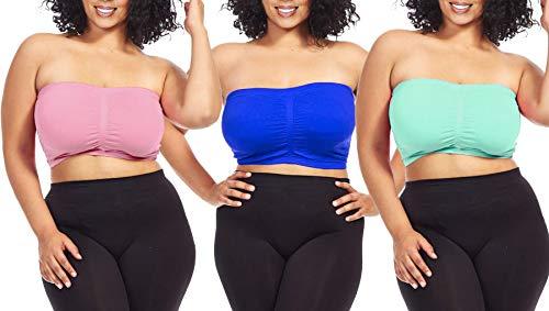 Dinamit Jeans Women's Plus Size Seamless Padded Bandeau Tube Top Bra (S/M-7X/8X) (1X-2X, Royal-Mint-Pink)