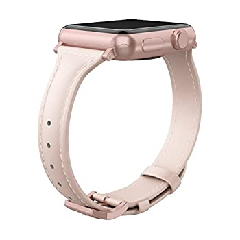 Wearlizer Womens Slim Pink Leather Compatible for Apple Watch Band 38mm 40mm for iWatch Sports Thin Strap Replacement Wristband Cool Cute Bracelet with Rose Gold Metal Buckle Series 4 3 2 1 Edition