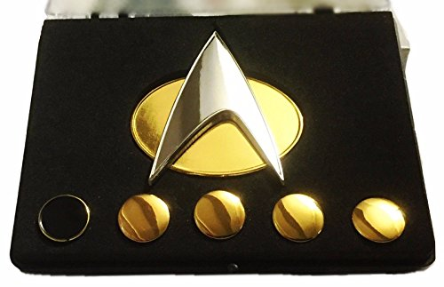 Star Trek The Next Generation Full Size 2″ Tall Pin and Set of 5 Rank PIPS BOXED