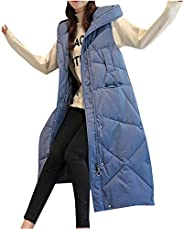 Women's Winter Long Vest Puffer Hooded Outerwear Coat with Hood Warm Thickened Cotton Jacket