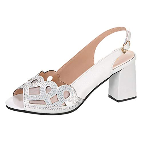 - BOLMI Women's Strappy Chunky Block Sandals Ankle Strap Open Toe High Heel for Dress Wedding Party Evening Sandals White