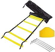 Tebery 12-Rung Adjustable Speed AgilitTraining Ladder-Yellow,Orange(Random Color) + 10 Bonus Cones + 4 Stakes