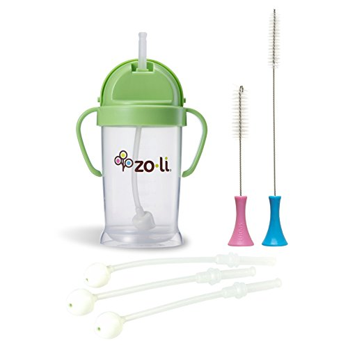 Zoli Baby BOT Straw Sippy Cup, Green with Replacement Straws & Cleaning Set