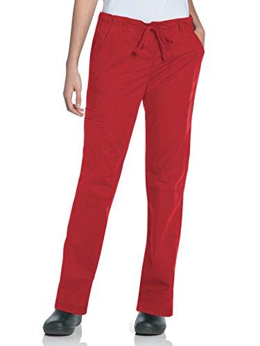 (Landau Women's 5-Pocket Elastic Waist Drawstring Cargo Stretch Scrub Pant, True Red, Large)
