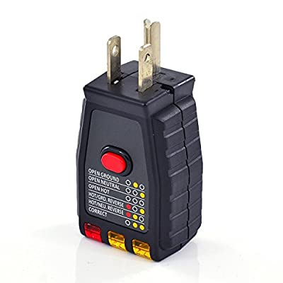 InstallerParts AC GFCI Outlet Circuit Tester -- 3 Prong Ground Plug 120 V Receptacle Electrical Fault Detector