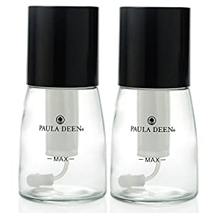 Paula Deen Set of 2 2 oz Glass Oil Mister Spray Bottles Black