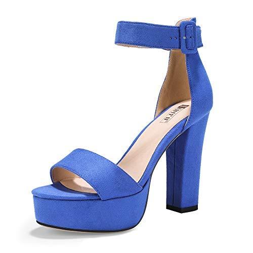IDIFU Women's IN5 Sabrina Ankle Strap Platform High Chunky Heels Party Sandal (8 M US, Royal Blue)