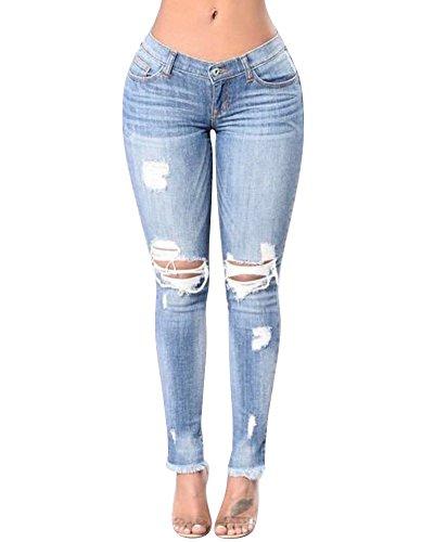 Pantalon Pantalon Leggings Maigre Femmes Trou Dlav Slim Jeans Dchir lasticit Coupe Bleu droit vC0w6