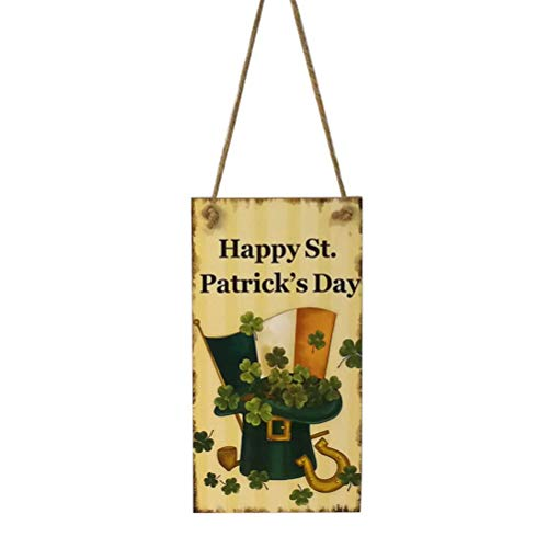 BinaryABC St.Patrick's Day Wooden Sign Plaque Door Wall Hanging Decorations(Happy St. Patrick's Day)]()