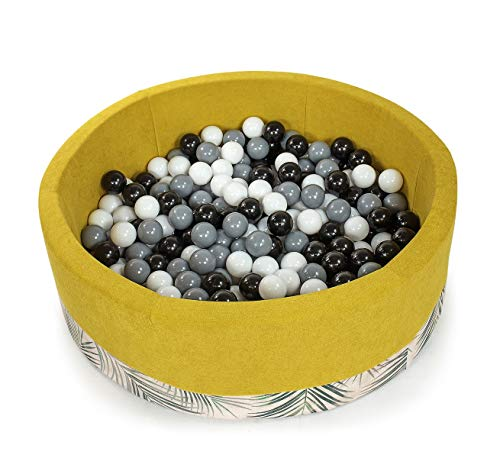 Tweepsy Soft Baby Round Ball Pool Pit 250 Balls 90x30cm Handmade EU - BKODP5N - Palm-Yellow Pool: White, Black, Grey