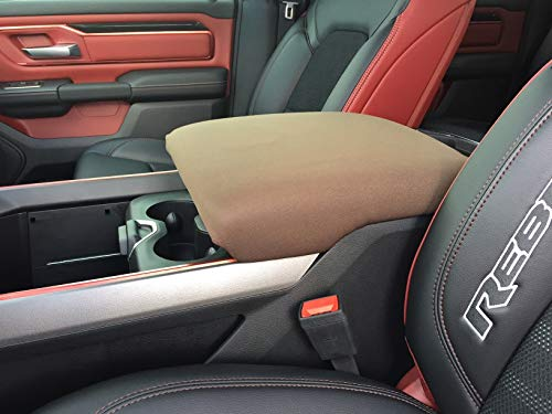 Auto Console Covers- Compatible with The 2019 Ram 1500, 2500, 3500 (Limited and Laramie Models) Center Console Armrest Cover Waterproof Neoprene Fabric (Brown)