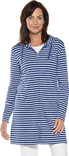 Leisure Suit Shirt - Coolibar UPF 50+ Women's Cabana Hoodie - Sun Protective (XX-Large- Empire Blue/White Stripe)