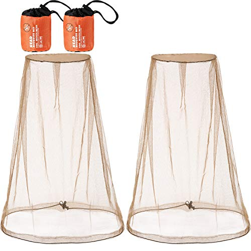 eBoot 2 Pack Head Net Face Mesh Head Cover for Outdoor Lovers Protect from Fly Screen Mosquito Gnat and Other Flies (Big Size, Khaki)