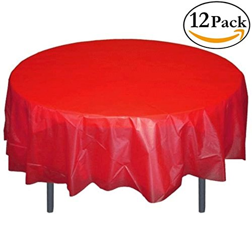12-Pack Premium Plastic Tablecloth 84in. Round Table Cover - (Red Table Cloths)