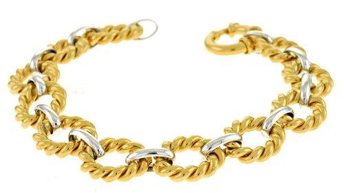 Blanc 14 carats et jaune 12,5 Swirl lien lien lien Bracelet JewelryWeb texturé deux tons