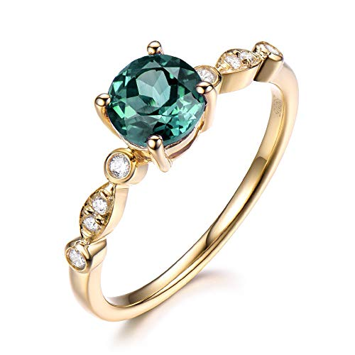 (Round Cut Lab Created Color Change Alexandrite Engagement Ring Solid 14k Yellow Gold CZ Diamond Jewelry)