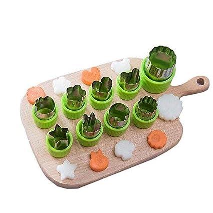 AOLVO - Juego de moldes para Cortar Verduras (9 Unidades, Acero Inoxidable, diseño