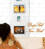 DropSak New York Bath/Shower Clear Curtain Tablet & Phone Holder - 4 Metal Hooks - 4 Suction Cups - 24 X 72- Waterproof