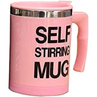 Taza de cafe de mezcla automatica - TOOGOO(R)Taza de cafe de mezcla automatica de de acero electrico de casa y oficina para los perezosos de color rosado