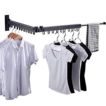 Image of Bakala Wall Mounted Space-Saver, Clothes Drying Rack, Retractable Fold Away Clothes Dry Racks, Easy to Install Design, Balcony, Mudroom, Bedroom, PoolArea(Black) Home and Kitchen