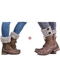 Women Winter Leg Warmer Cable Knit Button Furry Boot Cuffs Socks Short 2 Pairs