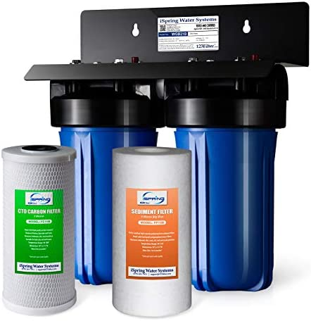 iSpring WGB21B 2-Stage Whole House Water Filtration System with 10″ x 4.5″ Big Blue Sediment CTO(Chlorine, Taste, and Odor) Filter, 1″ Inlet/Outlet