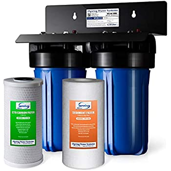 iSpring WGB21B 2-Stage Heavy Duty Whole House Water Filtration System, 10