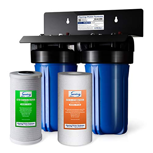 "iSpring WGB21B 2-Stage Whole House Water Filtration System w/ 4.5"" x 10"" Sediment and Carbon Block Filters"
