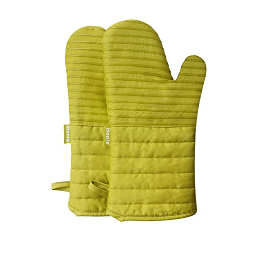 Honla 13-Inch Cotton Quilted Oven Mitts/Hot Mits-Terry Cloth Lining&Striped Silicone Coating Pan/Pot Holders/Potholders,Lime Green,1 Pair Kitchen Mittens/Gloves Set for Cooking,Baking or Smoking (Oven Mit Small compare prices)