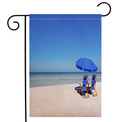 - BEIVIVI Creative Home Garden Flag Lounge Chairs and Umbrella at The Beach Welcome House Flag for Patio Lawn Outdoor Home Decor