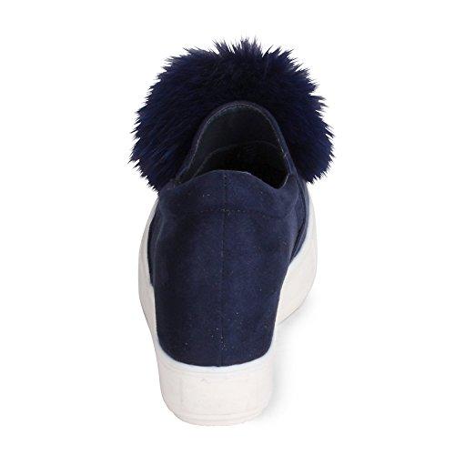 Se Buscan Zapatilla De Deporte Floppy Wedge Con Real Fur Pom-pom Navy