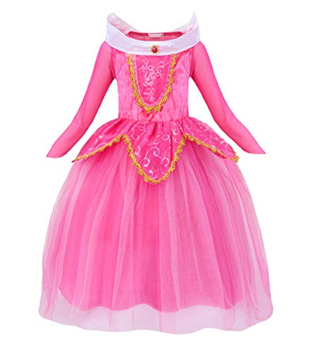 AmzBarley Girls Princess Aurora Dress Fancy Ball Deluxe Cosplay Halloween Dress up Theme Kids Birthday Party Costume Outfits Pink Size -