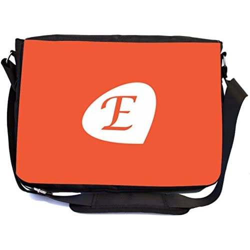 "Rikki Knight Letter E"" Tangerine Orange Initial Petal Leaves Design, Messenger School Bag (mbcp-cond43910)"