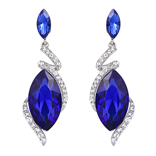 BriLove Women's Wedding Bridal Crystal Marquise Swirl Filigree Wire Dangle Earrings Royal Blue Sapphire Color Silver-Tone ()