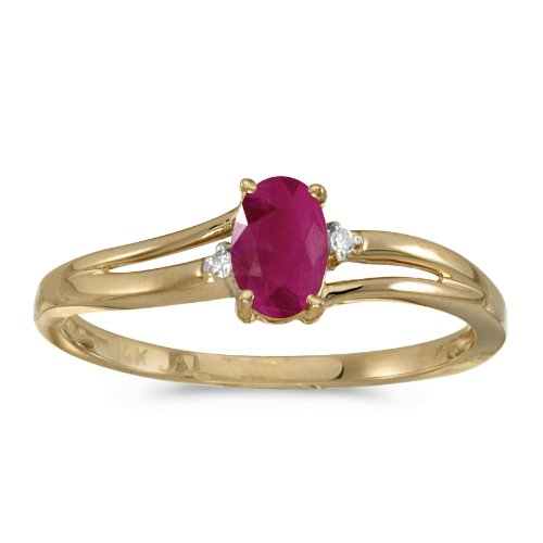 0.37 Carat ctw 14k Gold Oval Red Ruby & Diamond Accent Swirl Bypass Split Shank Promise Fashion Ring