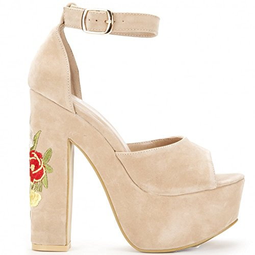 Shoe Closet Nude Platform Wedges Nude Platforms Embroidered High Heels q3ahz