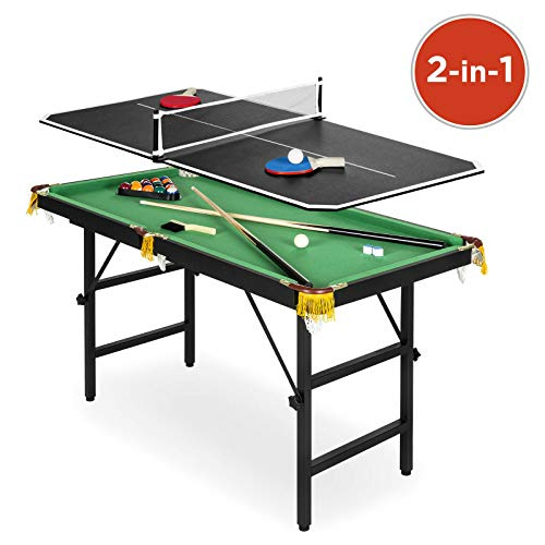 Mahathepneramit Portable Folding Mini Kids 2-in-1 Ping Pong Billiards Pool Table Set Arcade Game (2 In 1 Pool Table And Table Tennis)