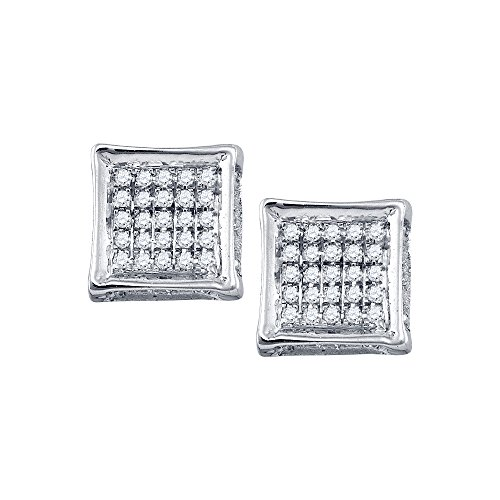 10k White Gold Mens Round Diamond Square Stud Earrings 1/8 Ct.
