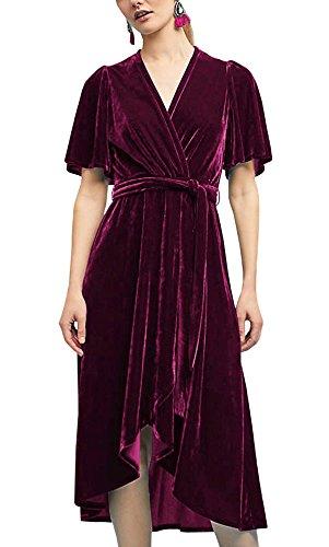 R.Vivimos Womens Crushed Velvet Pleated Wrap Tie Waist Elegant Flowy Plus Size Midi Dresses Large Wine Red