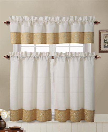 Gold and Beige Embroidered Kitchen Window Curtain Set : 2 Ti