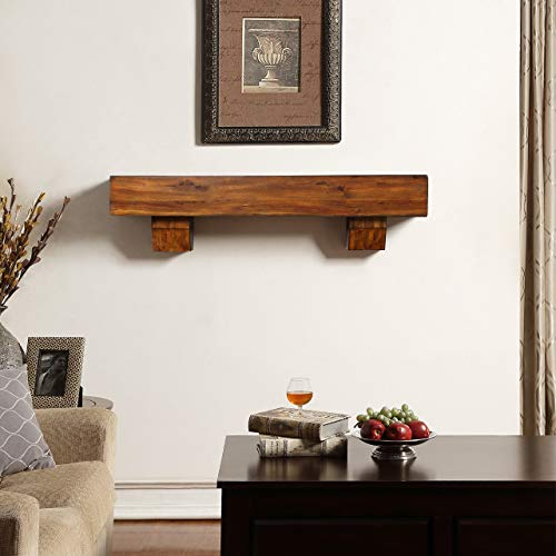Duluth Forge 170056 48-Inch Fireplace Shelf Mantel with Corbels, Brown