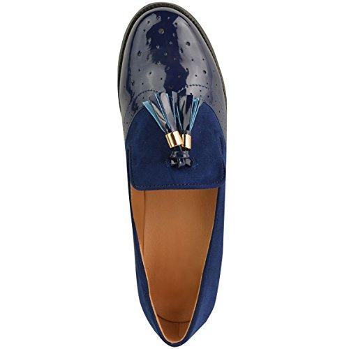 Azul Escuela Oxford Zapatos Vintage Planos Mocasines Marino Borla Mujer Charol Talla Oficina Zapatos Gamuza 4xnHvqUnpw