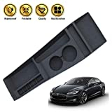 Poweka Center Console Organizer for Tesla Model S 2012 2013 2014 2015 2016 2017,Silicone Center Console Container Storage Box/Cup Holder, Black