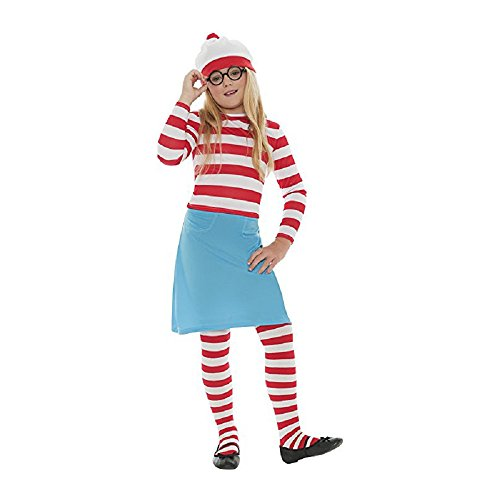 Costume Where's Girl Waldo (Adkinly Girl's 4 pcs Where's Waldo/Wally Kids Costume)
