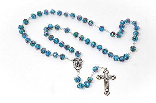 (DIRECT FROM LOURDES Turquoise Scapular Rosary Beads, Our Lady Mount Carmel & Sacred Heart of Jesus Junction Medal, Catholic Rosaries & Lourdes Prayer Card )