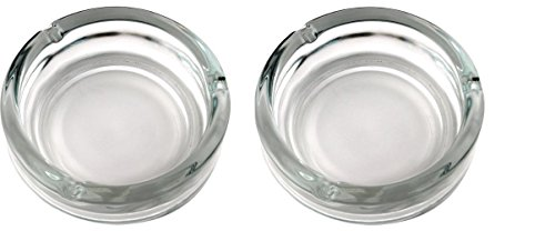 - Set of 2, Elegant Round Glass Ashtray