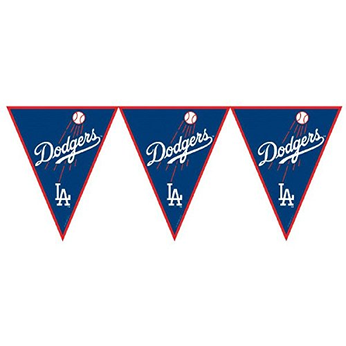 Amscan Major League Baseball Licensed Los Angeles Dodgers Pennant Banner Party Decoration, Plastic , 12' by Amscan